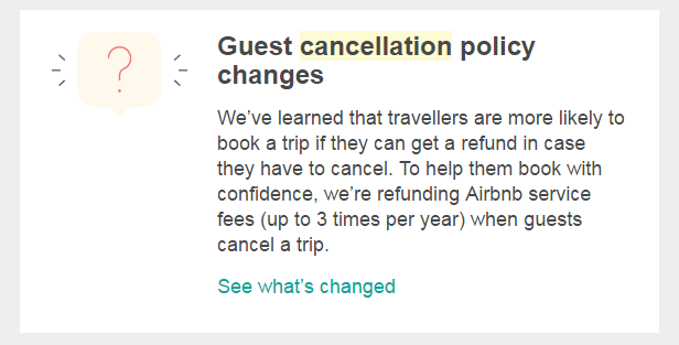 Airbnb guest cancellation policy